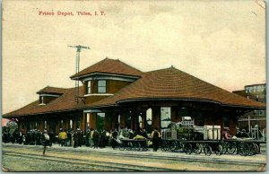 TULSA I.T. Oklahoma Postcard FRISCO RAILROAD DEPOT Trackside View 1908 Cancel