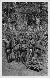 Central African Republic Bangui Babinga hunters pygmes real photo postcard