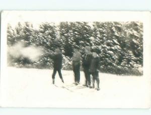 rppc 1920's Biathlon Sports SKIING - MEN ON SKIS SHOOT GUNS AC8830