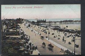 Lancashire Postcard - Central Pier and Promenade, Blackpool   T8290