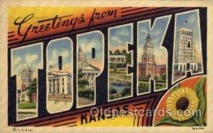 Topeka, Kansas Large Letter Town 1938 postal used 1938, very light paper glue...