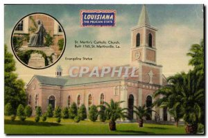 Old Postcard Lousiana St Martin's Catholic Church Built the Martinsville