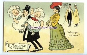 su3441 - Is Marriage a Failure Worn Down Man Carrying Crying Babies - postcard