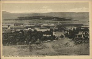 Douglas WY Birdseye View c1920 Postcard