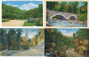 (4 cards) Smoky Mountains Tennessee or North Carolina Entrance & Highway Scenes