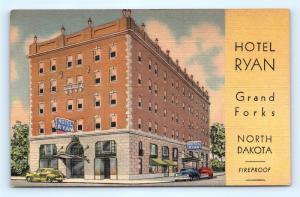 Postcard ND Grand Forks Hotel Ryan Vintage Linen K15
