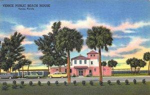 Venice FL Public Beach House Old Cars  Postcard