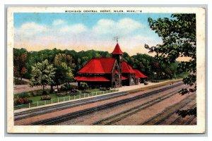 Postcard Michigan Central Depot Niles Michigan 1941 Linen pc1731