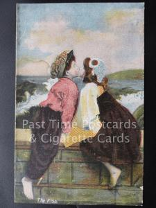Old PC, 'The Kiss' showing Girl & Boy Kissing sat on a wall by J.W.B. Series 301