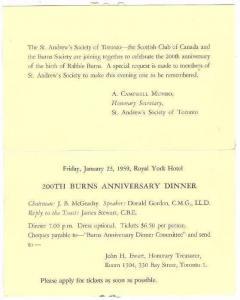 Bi-Fold, 200th Burns Anniversary Dinner, Royal York Hotel, Toronto, Ontario, ...