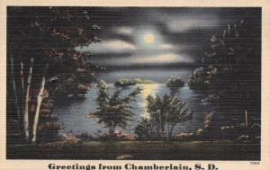 Chamberlain South Dakota~Moonlight Over the Missouri River~Greetings~Linen 1940s