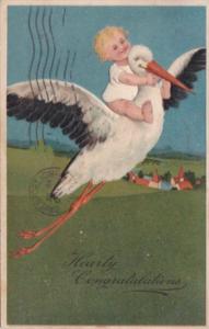 Birth Baby Riding On Stork's Back 1908