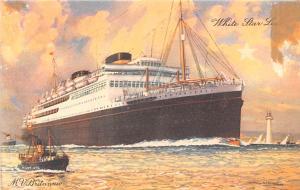 White Star Line, MV Britannic White Star Line Cunard Ship Unused light crease...