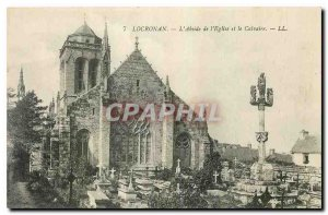 Old Postcard Locronan the apse of the Church and Calvary