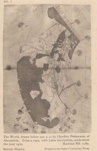 Roman Map Of The World Globe Latin 1400s Antique Postcard
