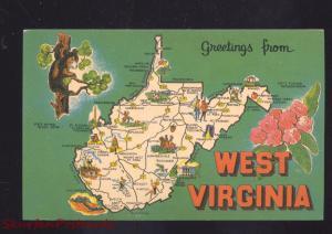 STATE OF WEST VIRGINIA VINTAGE POSTCARD