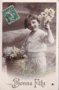 RP: BIRTHDAY, PU-1909; Bonne Fete, Little Boy holding bouquet of flowers