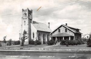 Clare Michigan~Lutheran Church~House Next Door~1950s RPPC