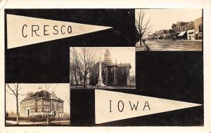 Cresco IA~RPPC Pennant~Civil War Monument~Main St~Old School & Students c1908