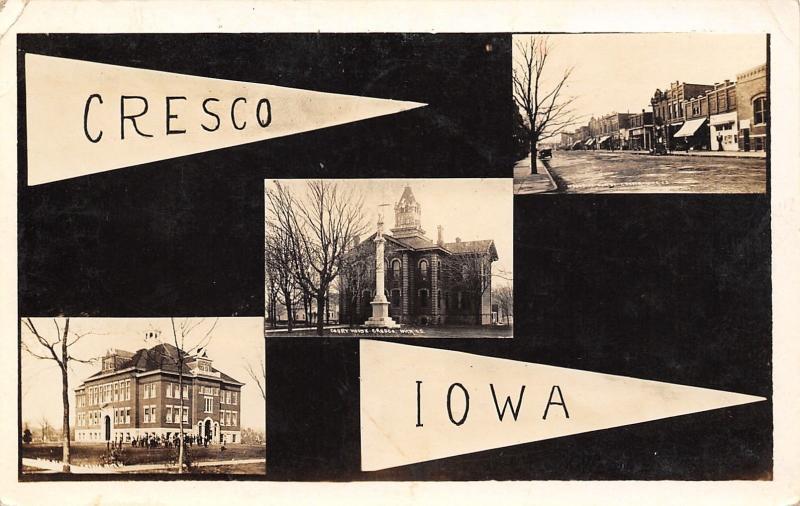 Cresco IA~RPPC Pennant~Civil War Monument~Main St~Old School & Students c1908