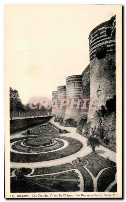 Old Postcard Angers Les Grandes Tours Du Chateau The Moat And Parterres