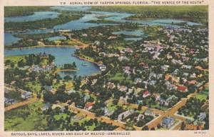 Florida Tarpon Springs Aerial View 1938 Curteich