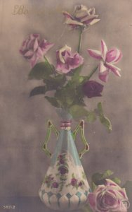RP: STILL LIFE, 1900-10s; Decorated Vase with Pink Roses