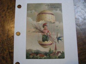 Postcard Easter Boy Egg Balloon #7488 / 7491