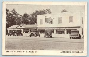 Postcard MD Aberdeen Maryland Colonial Inne Restaurant c1930s Cars Route 40 S6