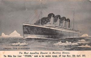 Titanic Ship Post Card Old Vintage Antique Amoung the Icebergs Postal Used Un...
