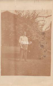 C11/ Middletown Ohio Postcard Real Photo RPPC 1908 Man Playing Croquet