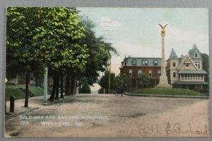 Soldiers And Sailors Monument, Wilmington DE 1909 Postcard (#F14)