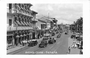 Avenida Central Panama Store Fronts Street View Old Cars Trucks RPPC Postcard