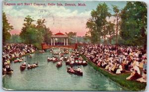 Detroit, Michigan Postcard Lagoon & Band Concert Belle Isle Park 1913 Cancel