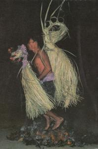 Bali Dancer On Burning Red Hot Coconuts Fire Dancing 1970s Postcard