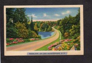 NH Moonligh on Lake Winnipesaukee New Hampshire Linen Postcard