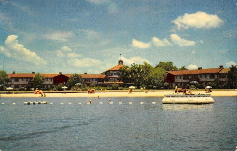 Point Clear Alabama Grand Hotel From Mobile Bay Swimming Float Beach 1963 Hippostcard