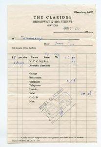 The Claridge Broadway & 44th Street New York Vintage Jun 7, 1952 Paper Invoice