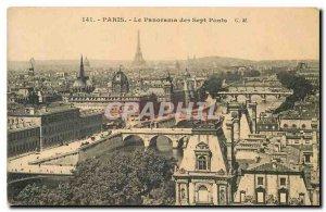 Old Postcard Paris Panorama of the Seven Bridges