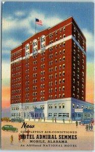 Mobile, Alabama Postcard New HOTEL ADMIRAL SEMMES Street View Curteich Linen