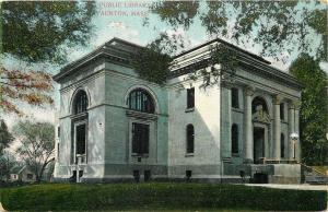 Taunton MA~Fancy Pillars, Cornices on Public Library~1909 Postcard