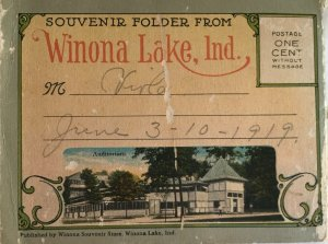 Vintage Winona Lake Indiana Souvenir Photo Folder Postcard Book of 16 - 1919