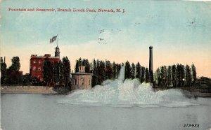 Fountain and Reservoir, Branch Brook Park Newark, N.J., USA Postcard 1911