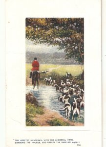 Gilbert Wright. A Huntng we will go. Horses. Dog Tuck Oikette PC # 9716