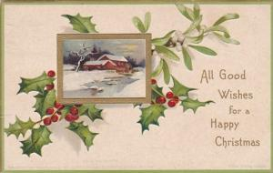 Christmas Holly With Landscape Scene 1907 Signed Clapsaddle