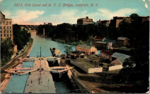 Postcard NY Lockport View of Erie Canal from NYC Bridge RARE