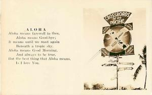 Aloha Poem - Crossroads of the Pacific Sign in Hawaii RPPC