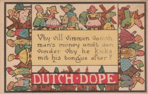 DUTCH DOPE, 1900-10s; Border of Couples, Windmills & dog