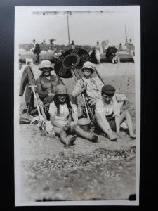 Devon PAIGNTON & EXMOUTH Family Beach Photograph Old RP PC by Vickery Bros P525