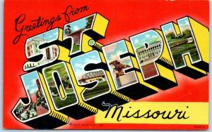 ST. JOSEPH Missouri Large Letter Postcard Greetings Multi-View Curteich Linen